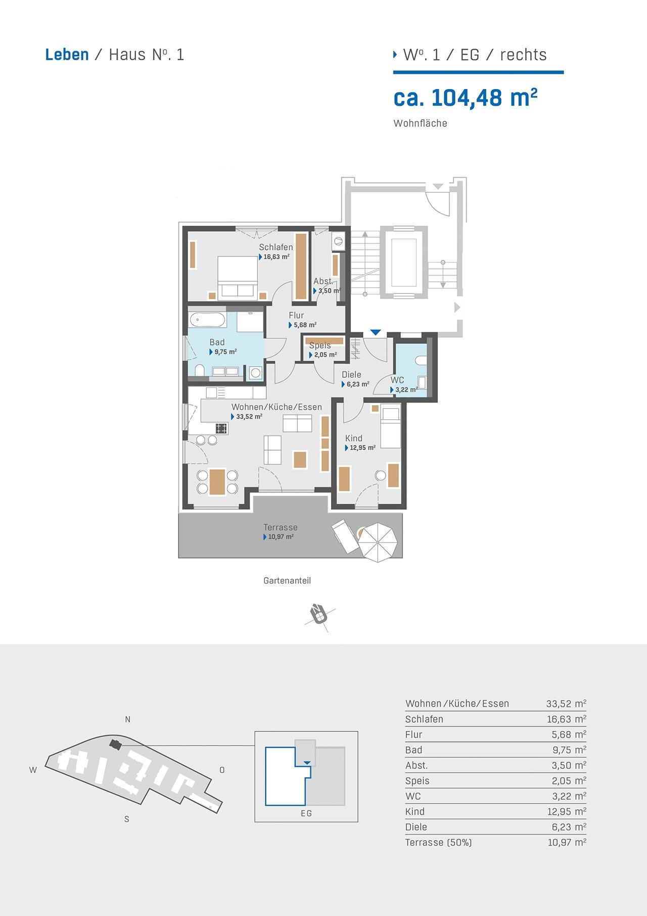 Haus 1 Grundriss Wohnung 1 EG rechts