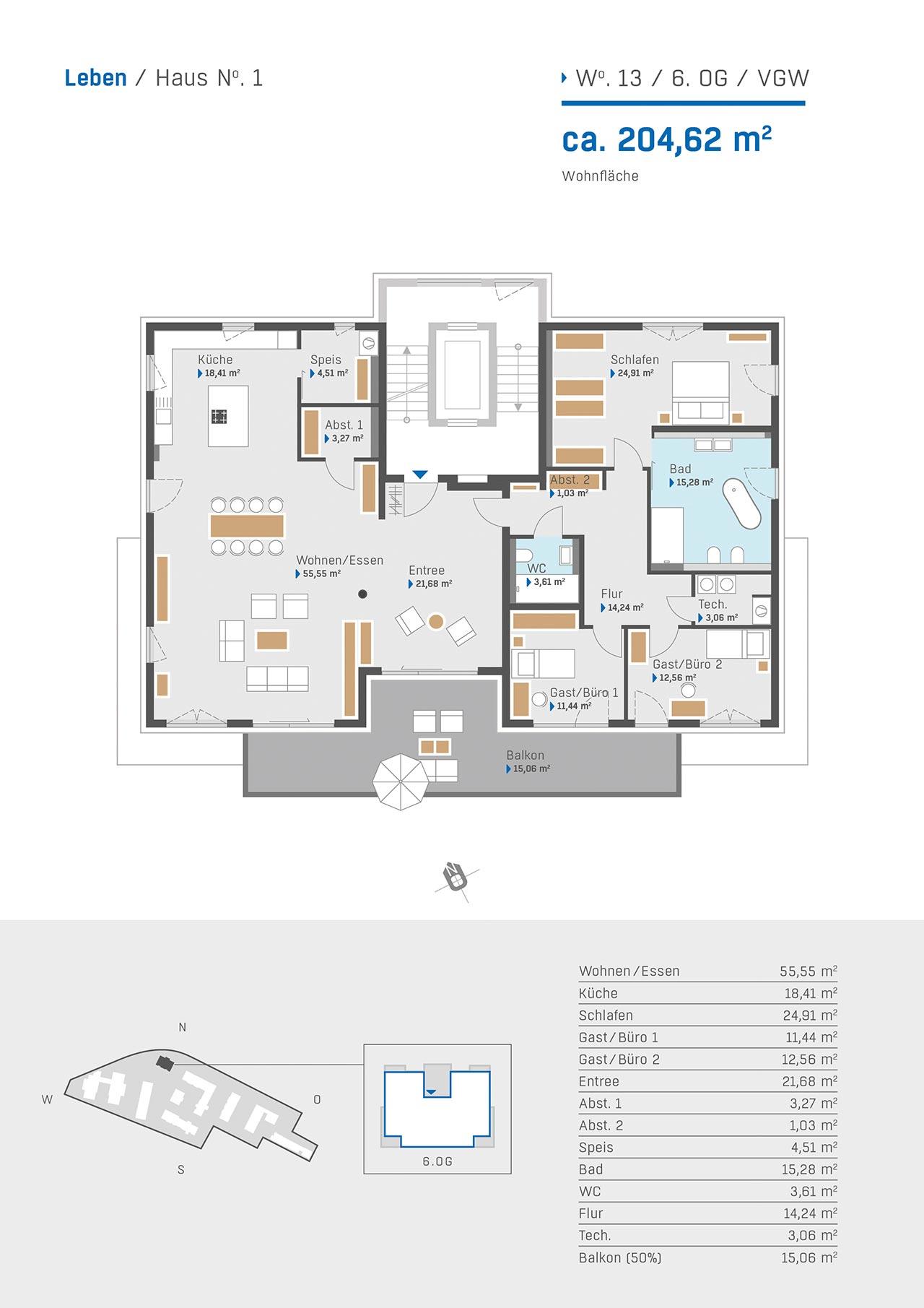 Haus 1 Grundriss Wohnung 13 6. OG VGW