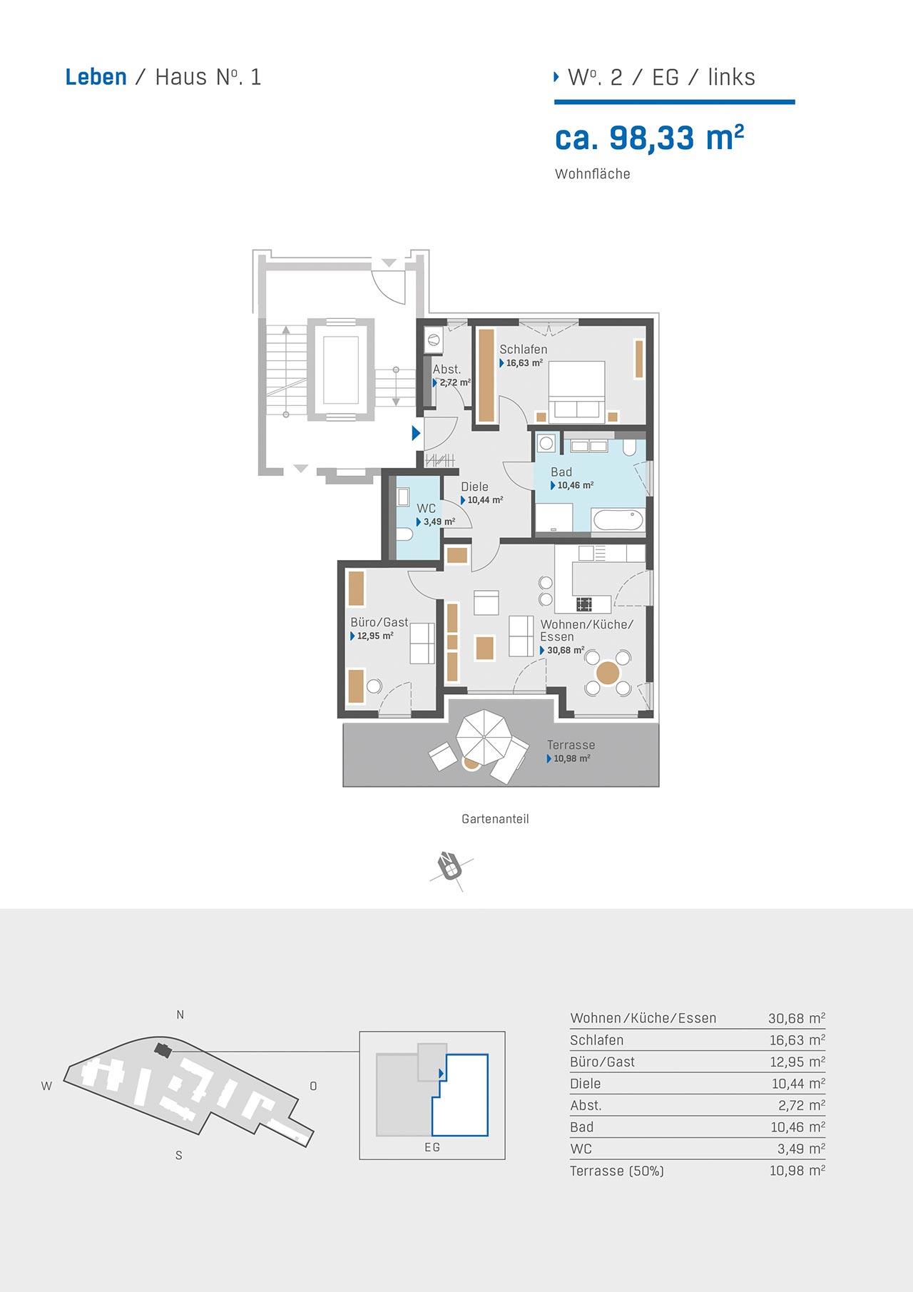 Haus1 Grundriss Wohnung 2 EG links