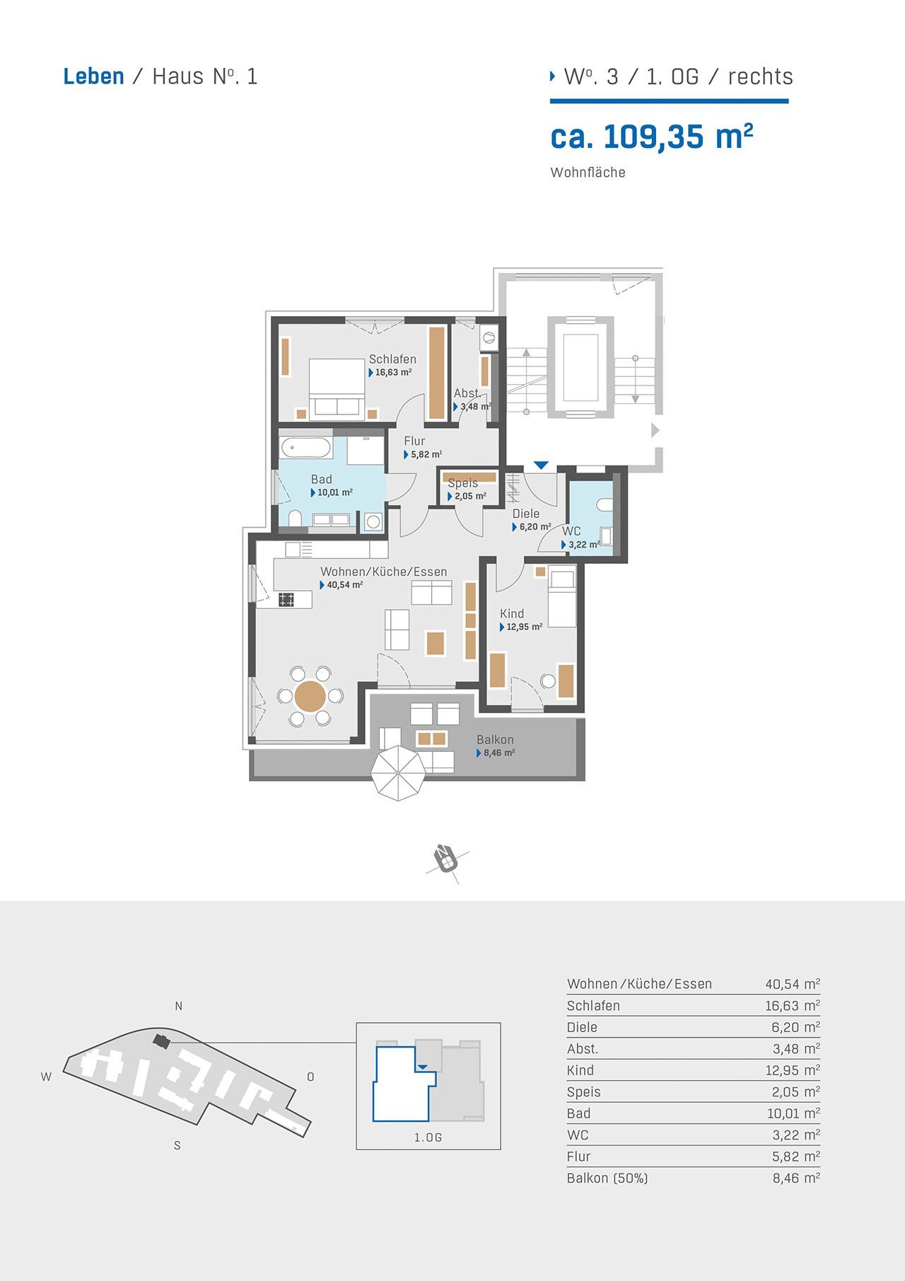 Leben-Haus 1 Grundriss Wohnung 3 1. OG rechts