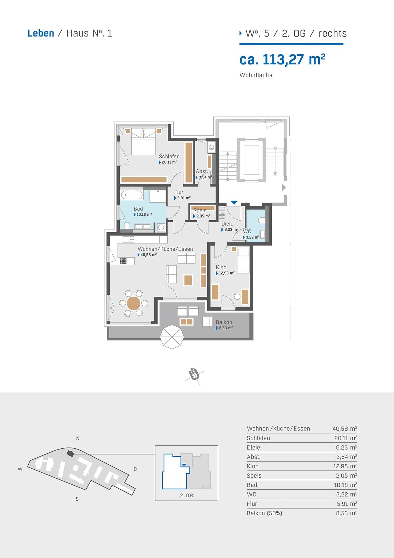 Haus 1 Grundriss Wohnung 5 2. OG rechts