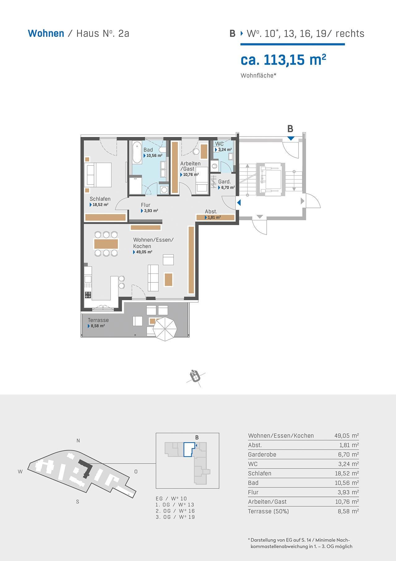 Haus 2a Grundriss Aufgang B Wohnung 10 13 16 19 rechts