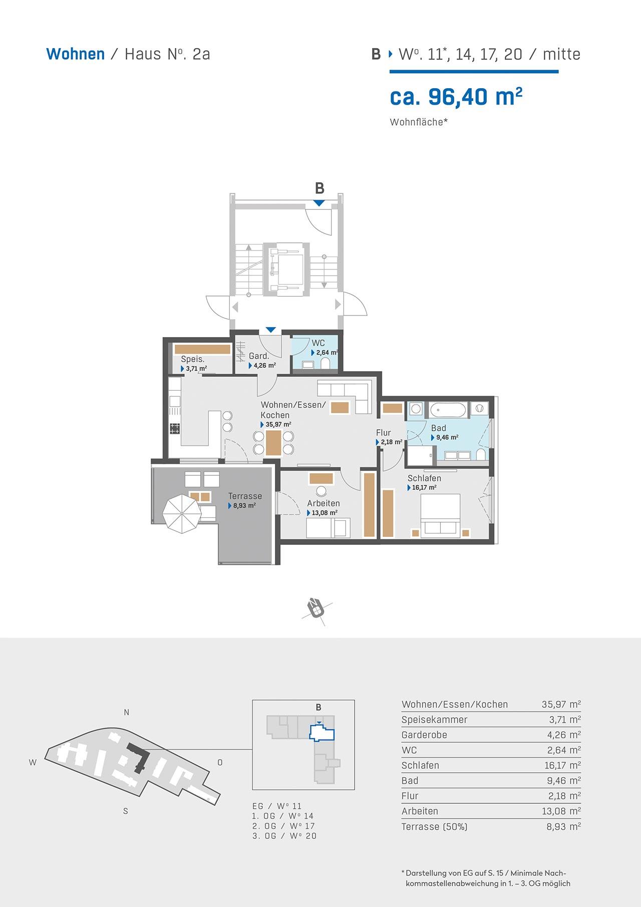Haus 2a Grundriss Aufgang B Wohnung 11 14 17 20 mitte