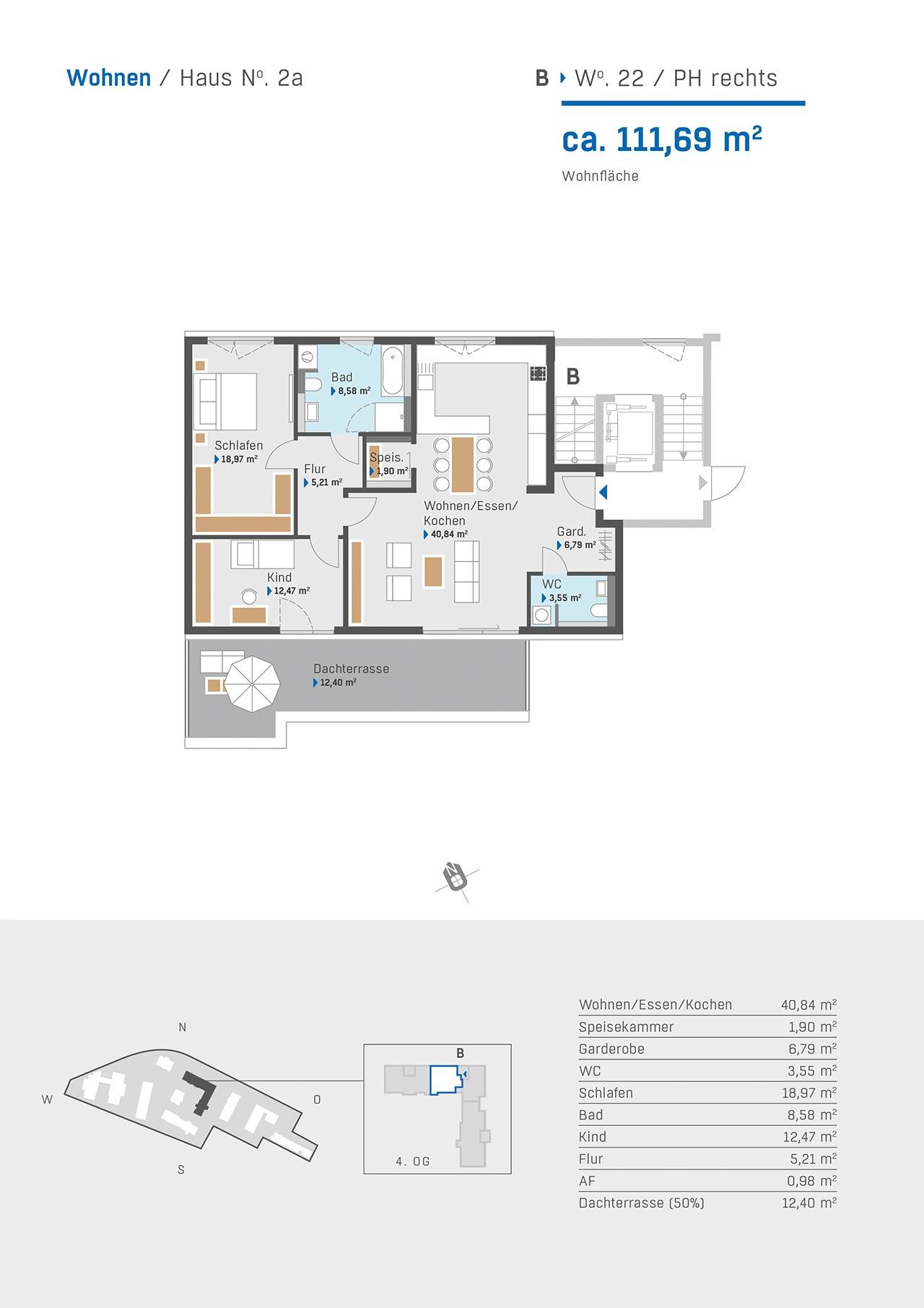 Haus 2a Grundriss Aufgang B Wohnung 22 PH rechts