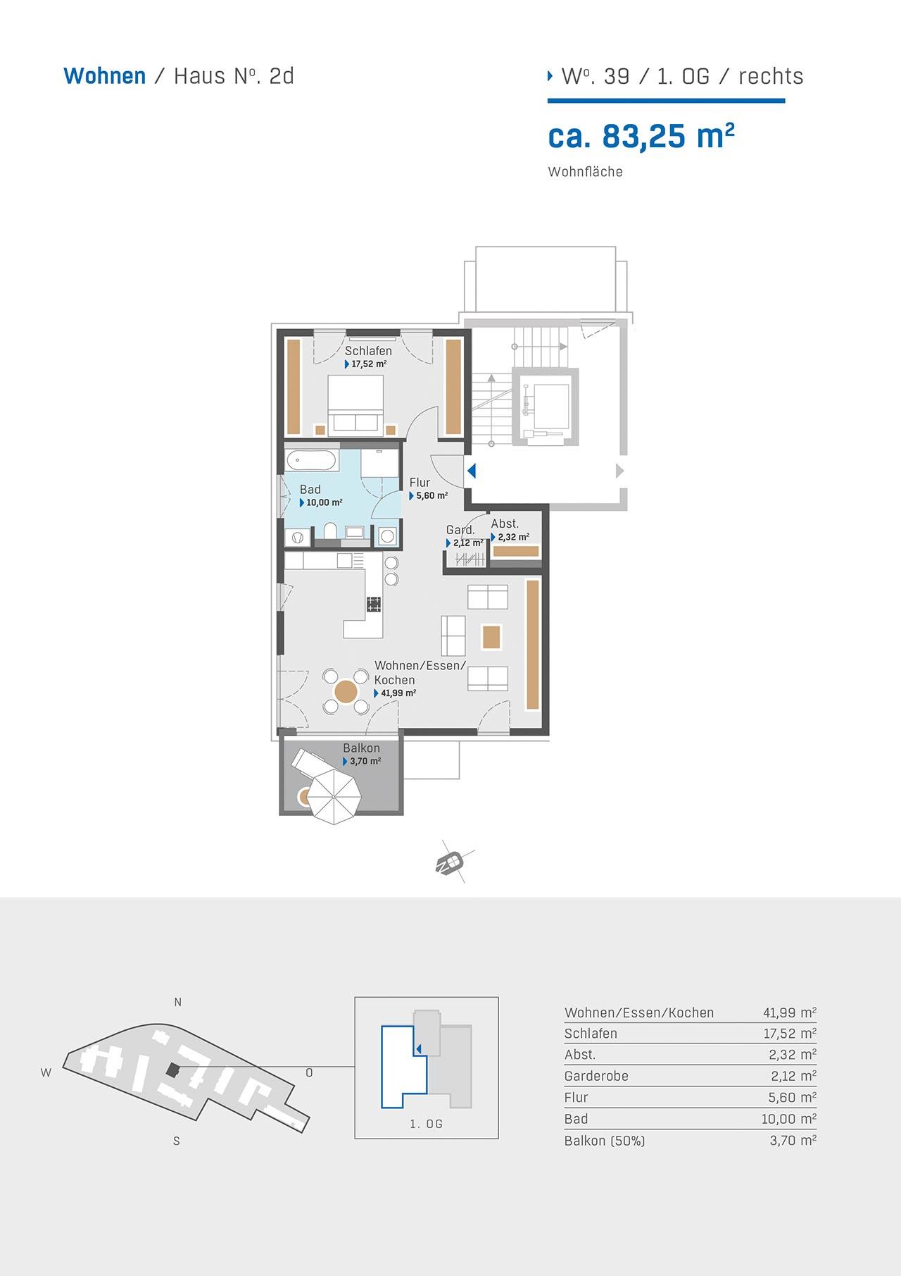 Haus 2d Grundriss Wohnung 39 1.OG rechts