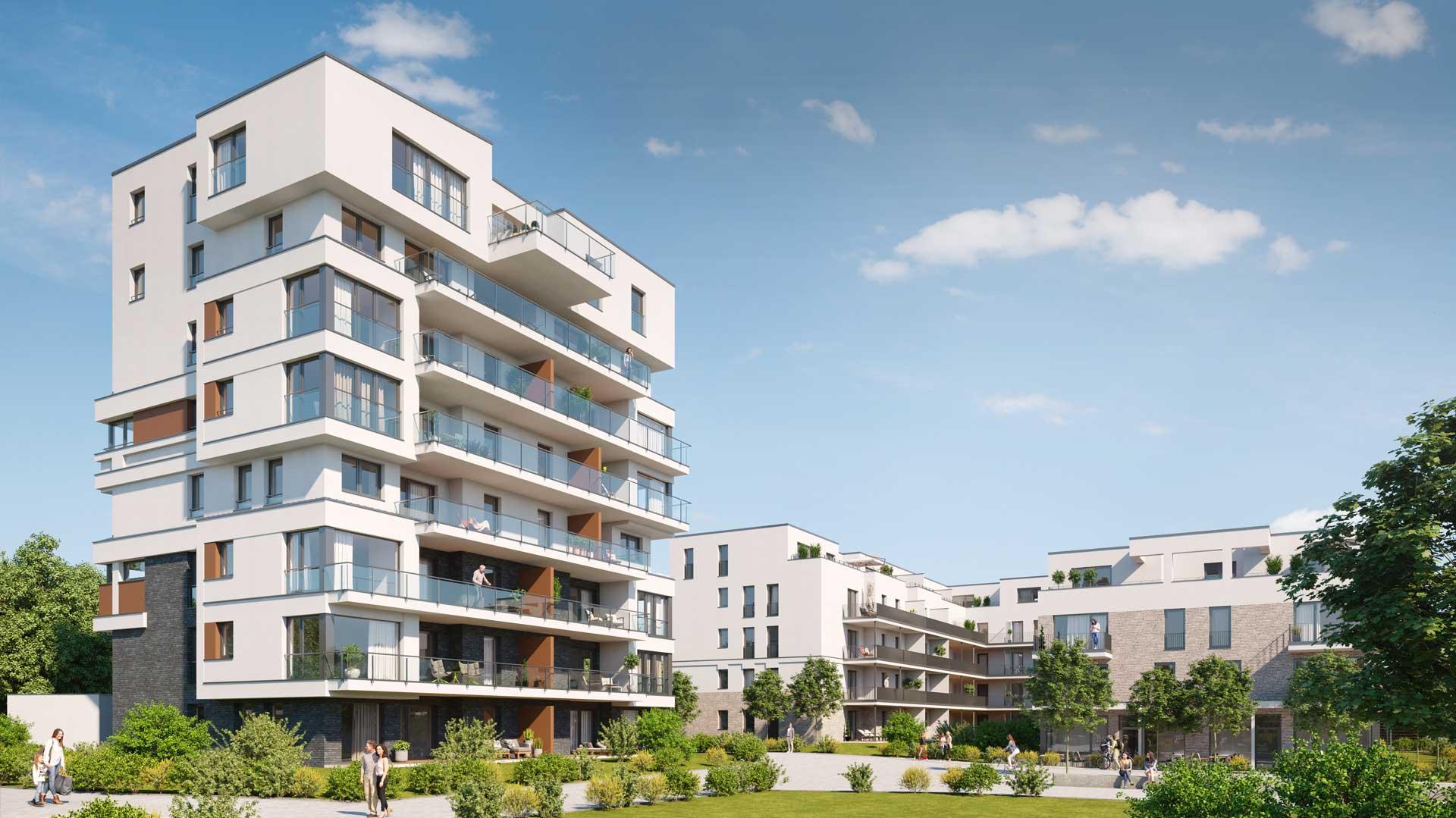 Luftige Bauweise und viel Freiraum zwischen den Immobilien bieten Lebensqualitaet im Alltag.