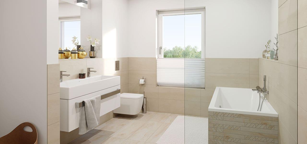 Helles Badezimmer mit Toilette, Badewanne, grossem Waschbecken und bodengleicher Dusche sowie mit hellen Fliesen