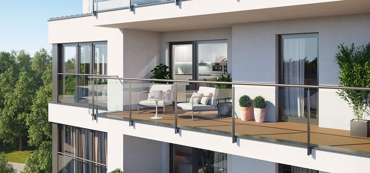 Zukunft leben mit Zugang zum privaten Freiluftbereich: Balkone mit Glasbruestung