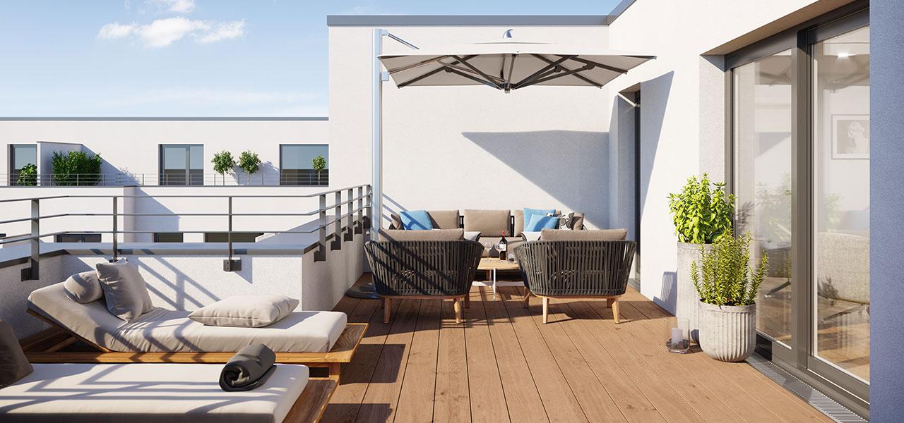 Die Wohnung mit Dachterrasse bietet viel Platz an der frischen Luft.