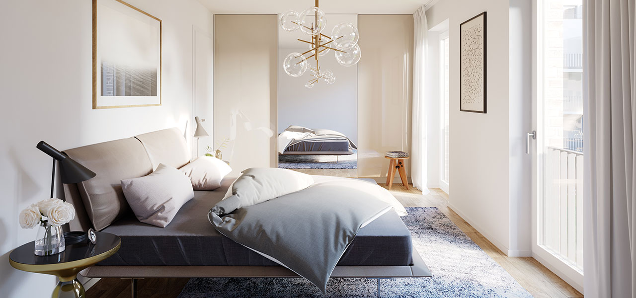 Schlafzimmer mit bodentiefen Fenstern und moderner Ausstattung