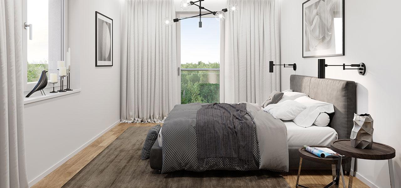 Schlafzimmer mit moderner Ausstattung