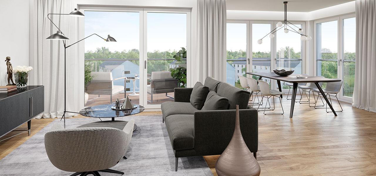 Offener, heller Wohn- und Essbereich mit großen Fenstern und Balkon