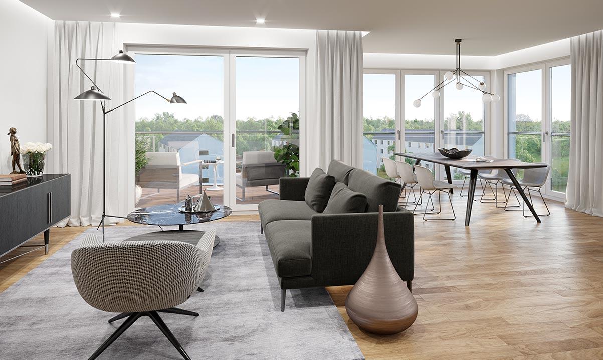 hugo49 | Wohnungen in Bayreuth | Leben im Turm | Wohnzimmer mit Terrasse